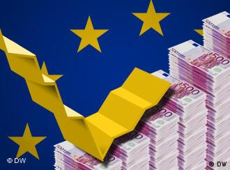 Montage of EU flag in background with piles of euro notes and a stock curve in the foreground