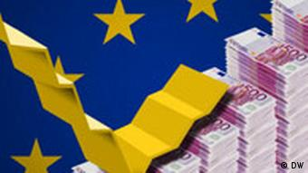 Montage of an EU flag, a stock curve and piles of euro notes