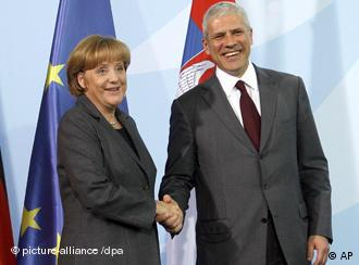 German Chancellor Angela Merkel and Serbian President Boris Tadic