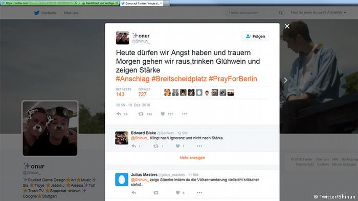 Deutschland Anschlag in Berlin Social Media Reax (Twitter/Shinun)