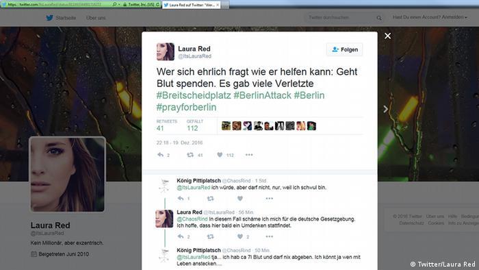 Deutschland Anschlag in Berlin Social Media Reax (Twitter/Laura Red)