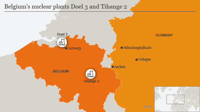 map showing location of doel 2 and tihange 2 nuclear power reactors