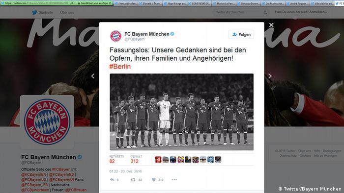 Deutschland Anschlag in Berlin Social Media Reax (Twitter/Bayern München)