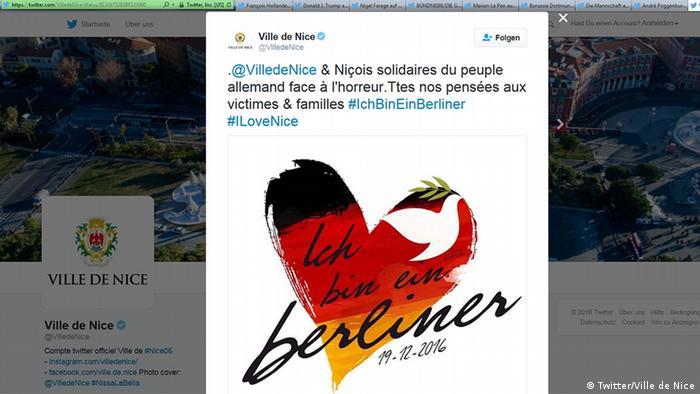 Администрация города Ниццы выражает солидарность с немецким народом в Twitter
