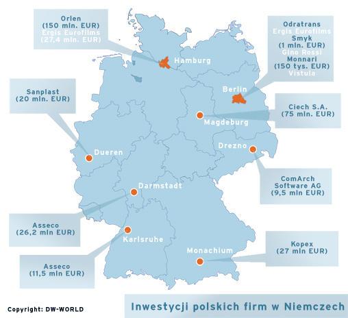 Mapa informująca o inwestycjach polskich firm w Niemczech
