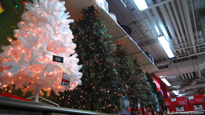 Bright pink and white Christmas trees at a Canadian Tire box store in Toronto's west end (Jillian Kestler-D'Amours)