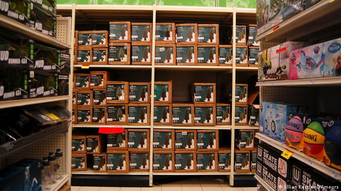 Boxes of potted trees at a Canadian Tire box store in Toronto's west end (Jillian Kestler-D'Amours)
