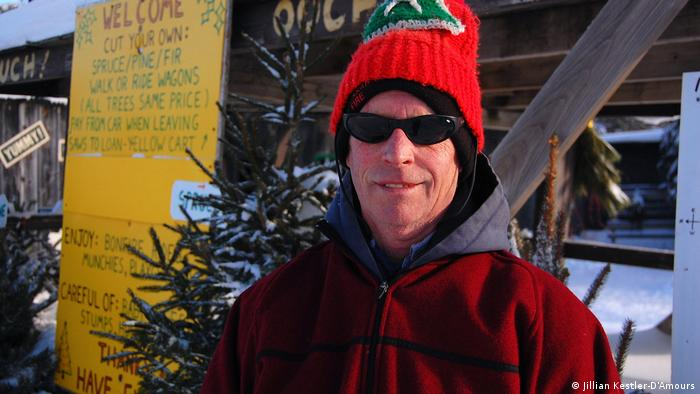 Hal Horton at his Christmas tree farm in southern Ontario (Jillian Kestler-D'Amours)