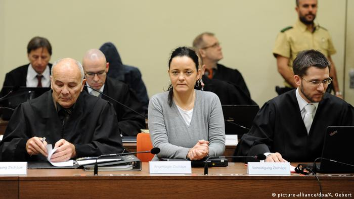 Beate Zschäpe, the only remaining NSU member, sitting between her lawyers at the trial