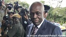 April 12, 2008*** FILE - In this April 12, 2008 file photo Angola's President Jose Eduardo dos Santos arrives at the Mulungushi International Conference Center in Lusaka, Zambia. Dos Santos has ruled since 1979 and endured the issue of term limits never would haunt him by having legislators approve a new constitution in 2010 under which the leader of the party that wins most parliamentary seats would become president. (AP Photo/Themba Hadebe, File)  