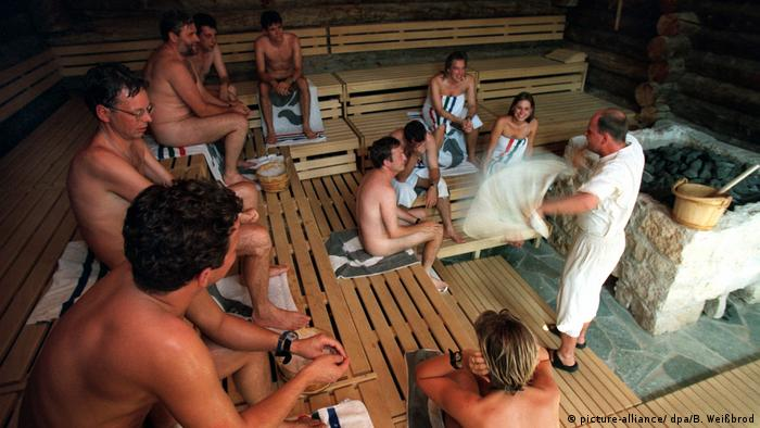 People in a sauna