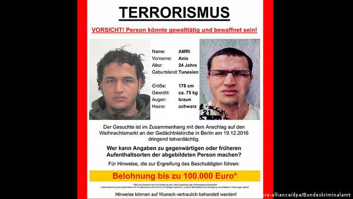 Объявление о розыске подозреваемого в совершении теракта в Берлине