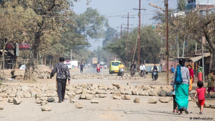 Indien Straßenblockade