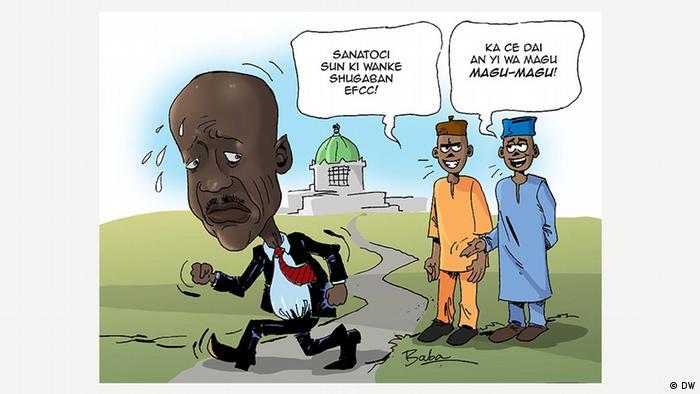 EINSCHRÄNKUNG - Karikatur: Nigeria - Streit um Magu als EFCC-Chef