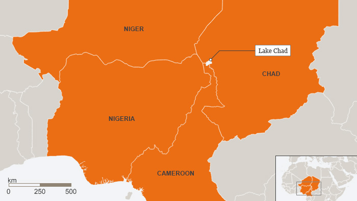 Map of Lake Chad region showing Nigeria, Niger, Cameroon and Chad