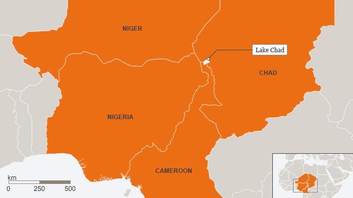 Karte Tschadsee Nigeria Kamerun Niger Tschad ENGLISCH