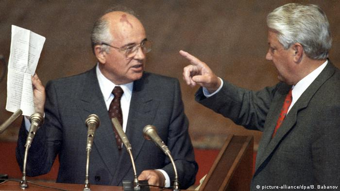 Russland Jelzin fordert Gorbatschow heraus (picture-alliance/dpa/B. Babanov)
