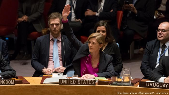 Ambasadorul SUA la ONU, Power, votând abţinerea în rezoluţia Consiliului de Securitate privind aşezările israeliene
