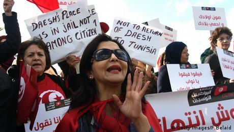 Tunesien Demo Protest Rückkehr Dschihadisten (Getty Images/F.Belaid)