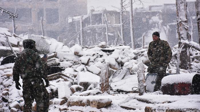 Syrien Schnee und Kälte in Aleppo