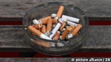 Zahlreiche Zigarettenkippen liegen am 17.04.2015 in Berlin in einem Aschenbecher. Foto: Jens Kalaene | Verwendung weltweit