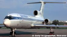 MOSCOW, RUSSIA: picture shows a Tupolev-154 (TU-154) aircraft. A Russian TU-154 Dalavia aircraft with 143 people on board has dropped out of contact and crashed in southern Siberia, 34 km to the east from Irkutsk at 17.10 (GMT), 03 July 2001. (Photo credit should read ALEXANDER NEMENOV/AFP/Getty Images)