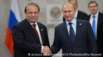 Shanghai Cooperation Organisation Gipfel in Ufa Premierminister Nawaz Sharif und Präsident Wladimir Putin