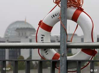 A life buoy at the river Spree in Berlin