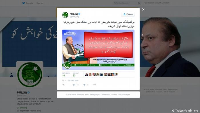 Screenshot Twitter Pakistan Muslim League Nawaz (Twitter/pmln_org)