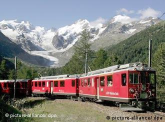 Train with mountain scenery