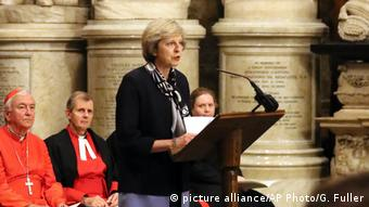 Britain's Prime Minister Theresa May speaks at Westminster Abbey