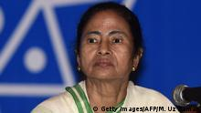 20.02.2015 Indian Chief Minister of West Bengal, Mamata Banerjee looks on during a meeting with Bangladeshi cultural personel in Dhaka on February 20, 2015. Mamata Banerjee is on a three-day official visit to Bangladesh. AFP PHOTO / Munir uz ZAMAN (Photo credit should read MUNIR UZ ZAMAN/AFP/Getty Images)