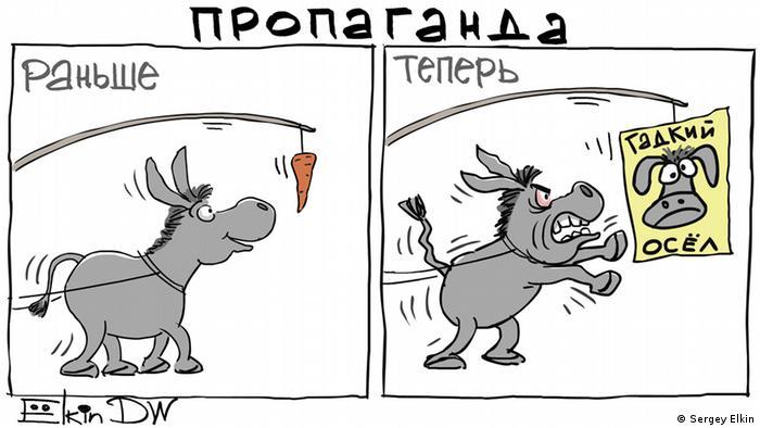 Карикатура: две картинки - Раньше и Теперь. На первой - перед ослом висит морковка, осел улыбается. На второй - вместо морковки перед ослом картинка, на которой написано Гадкий осел. Наш осел - в ярости.