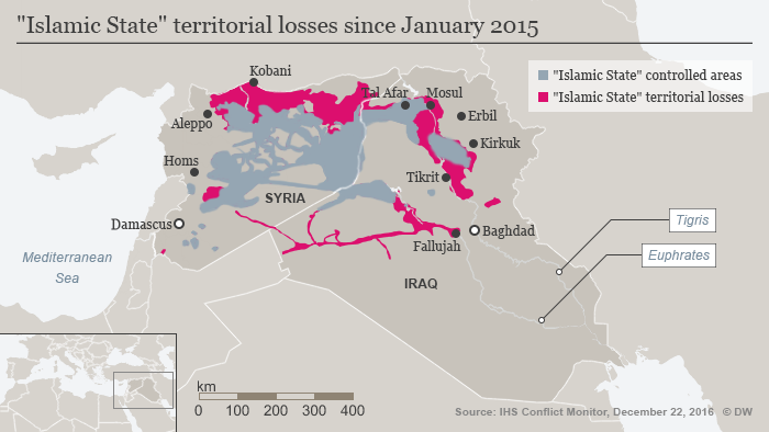 Infografik Map Islamic State territorial losses since January 2015 ENG