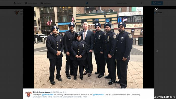 Screenshot Twitter NYC Sikh Officers (twitter.com/sikhofficers)