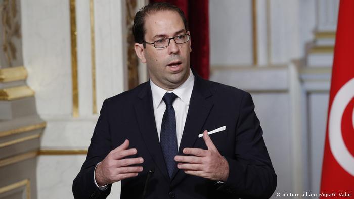 Frankreich Regierungschef Youssef Chahed in Paris