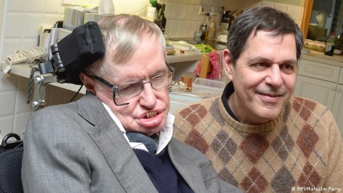 Stephen Hawking and Bruce Allen in in Hanover (MPI/Bruce Allen)