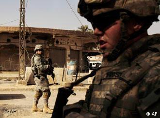 US troops on patrol in Baqouba, Iraq.