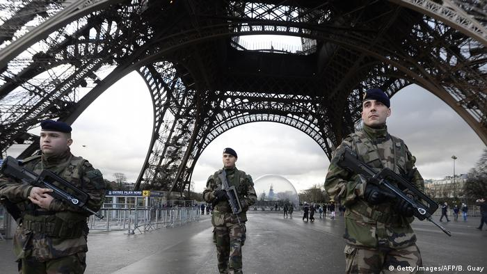 Police standing guard at the Eiffel Tower in2015