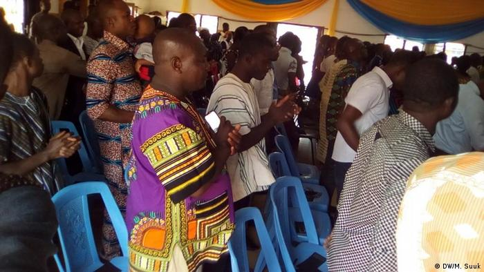 People attending church service in Ghana