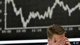 An anguished trader at the Frankfurt stock exchange