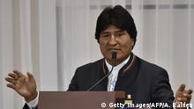 Bolivia's President Evo Morales delivers a speech after signing a joint statement in the framework of the II Bilateral Meeting of Presidents and Ministers of Bolivia and Peru in Sucre, Bolivia, on November 4, 2016. Kuczynski supports the bi-oceanic Brazil-Peru train through Bolivia, he said upon arriving in Sucre. / AFP / afp / Aizar Raldes (Photo credit should read AIZAR RALDES/AFP/Getty Images)