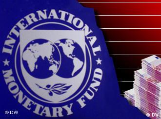 IMF logo and euro notes
