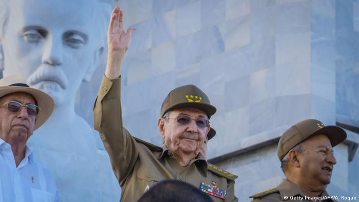 Cuban President Raul Castro (c) at a military parade in honor of Fidel Castro at Revolution Square in Havana, January 2, 2017.