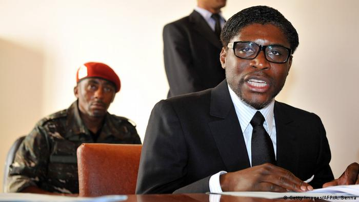 Teodoro Obiang Nguema Mangue bei einer Rede in Äquatorialguinea (Getty Images/AFP/A. Senna)