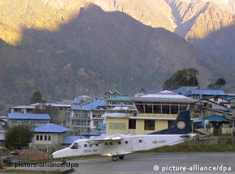 A plane landing at Lukla airport