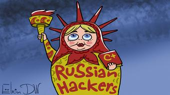 Russland Karikatur zum Thema Russische Hacker in den USA