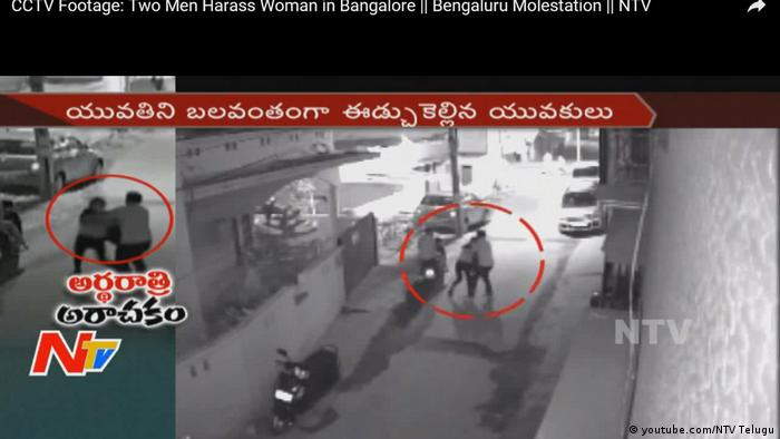 Screenshot Youtube Indien Bangalore Sexuelle Belästigung an Silvester (youtube.com/NTV Telugu)