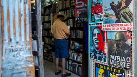 A gift store in Havana, with signs about the revolution and relations with US