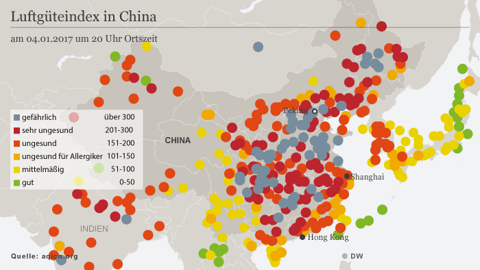 Infografik Karte Luftverschmutzung China